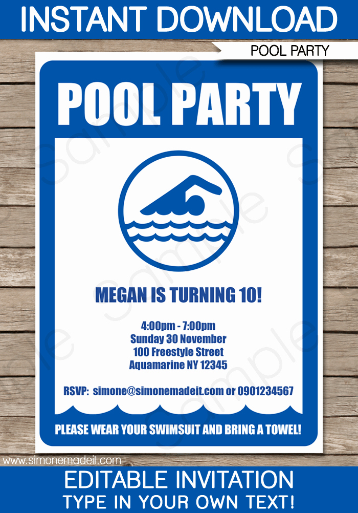 Pool Party Invitation Template Lovely Pool Party Invitations Birthday Party