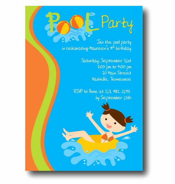 Pool Party Invitation Template Luxury Free Pool Party Invitation Template