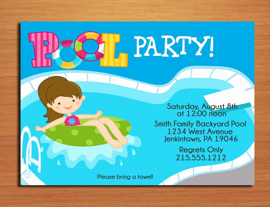 Pool Party Invitation Template Luxury Free Printable Birthday Pool Party Invitations