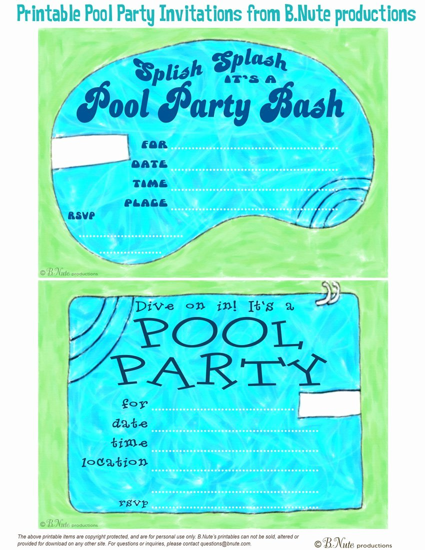 Pool Party Invitation Template New Free Printable Pool Party Birthday Invitations
