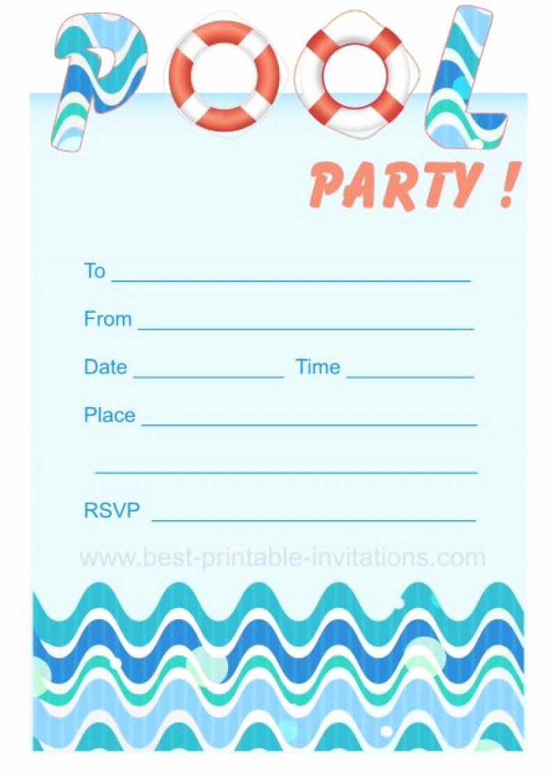 Pool Party Invitations Template Best Of Blank Pool Party Ticket Invitation Template