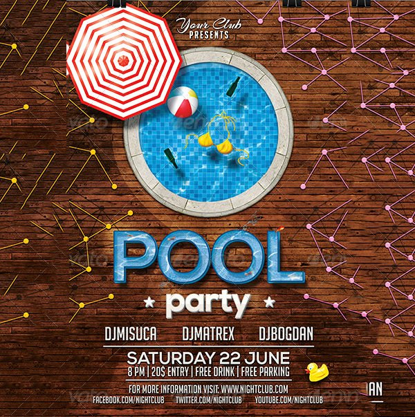Pool Party Invitations Template Best Of Pool Party Invitation Template 38 Free Psd format