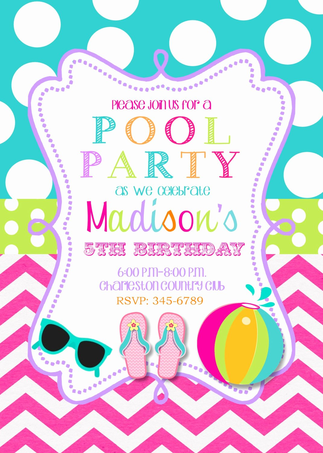 Pool Party Invitations Template Inspirational Pool Party Birthday Party Invitations Printable or Digital