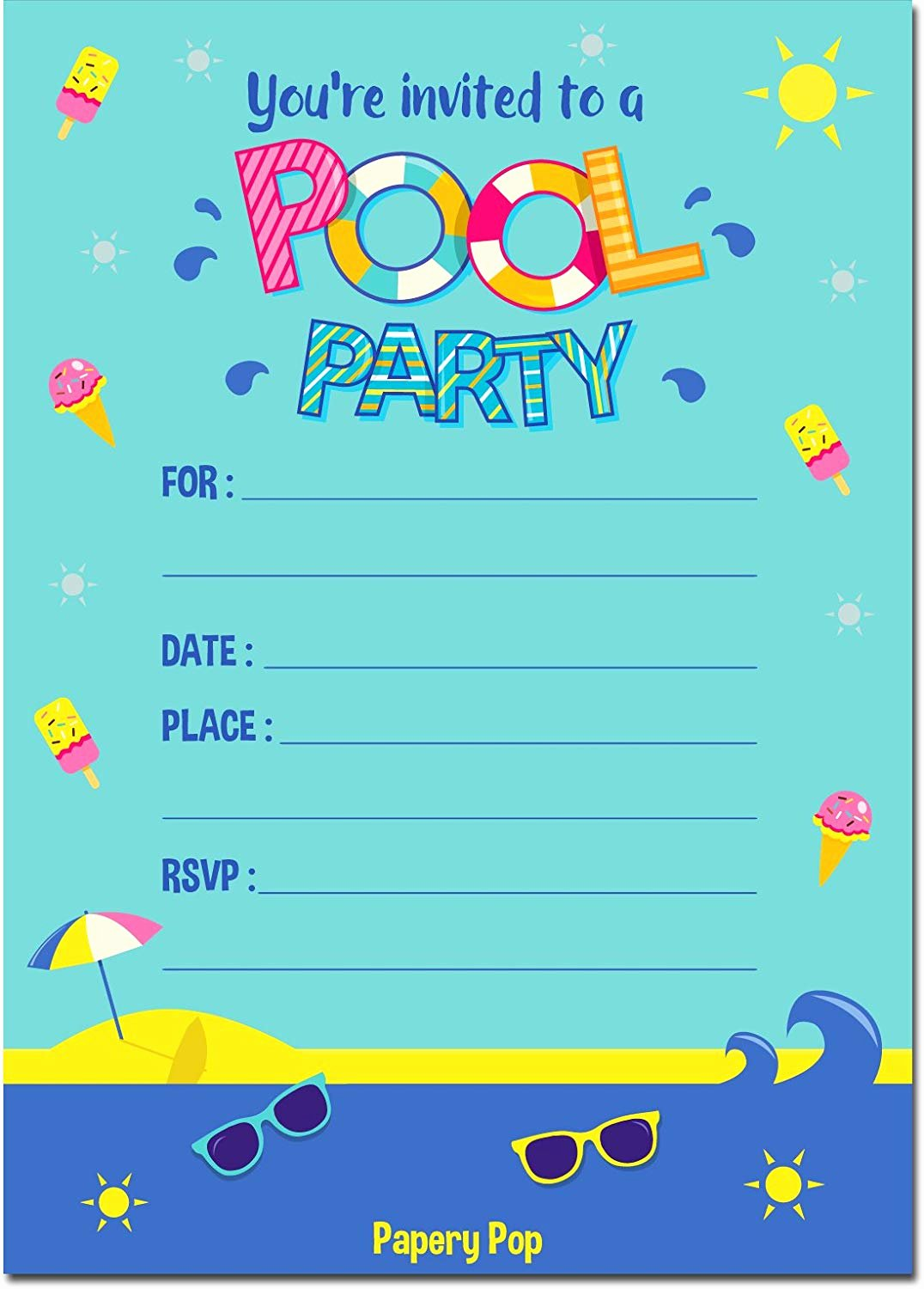 Pool Party Invitations Template Lovely Pool Party Invitations with Envelopes 15 Count Kids