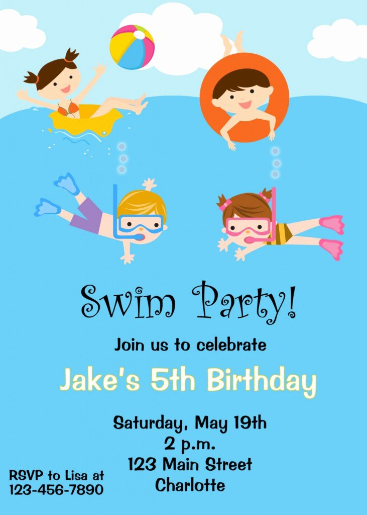Pool Party Invitations Template Luxury Free Printable Birthday Pool Party Invitations