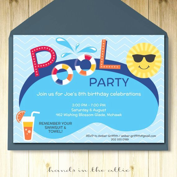 Pool Party Invitations Template Luxury Pool Party Invitation Card Editable Template Party Printable