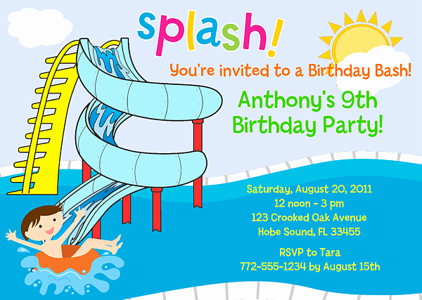 Pool Party Invitations Template New Free Printable Birthday Pool Party Invitations