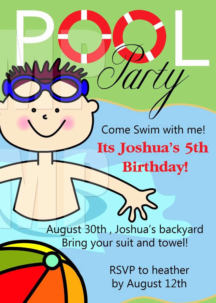 Pool Party Invitations Template Unique Free Printable Birthday Pool Party Invitations Templates