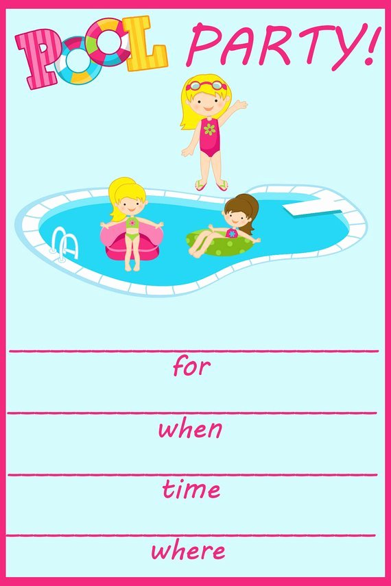 Pool Party Invitations Template Unique Items Similar to Pool Party Fill In Birthday Invitation On