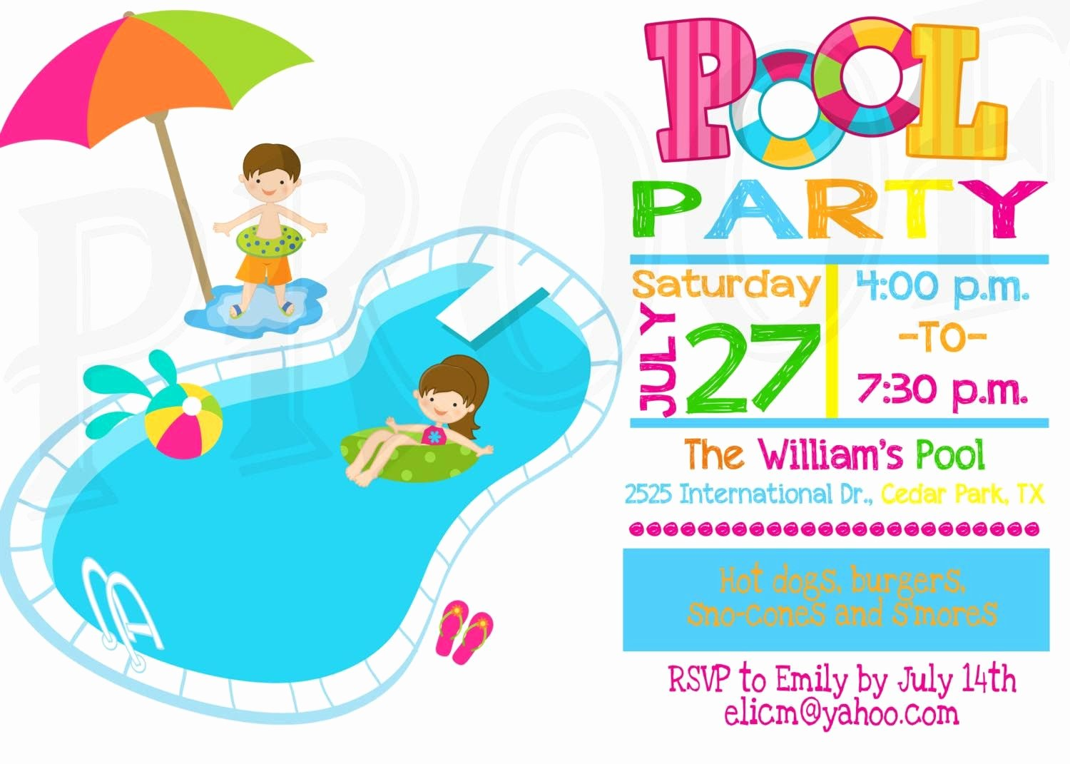 Pool Party Invite Template Beautiful Kids Pool Party Invitation Pool Party Pinterest