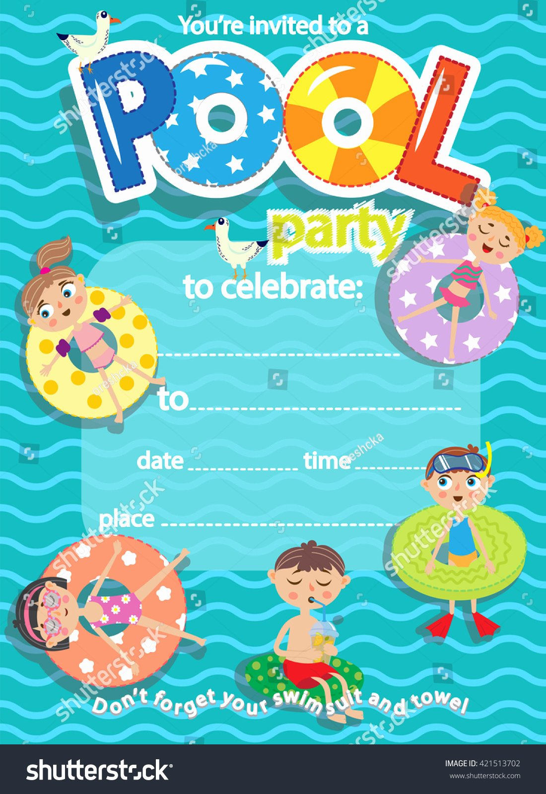 Pool Party Invite Template Best Of Pool Party Invitation Template Card Kids Stock Vector