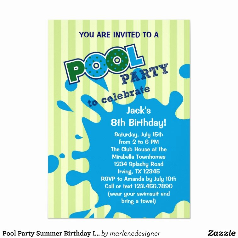 Pool Party Invite Template Best Of Pool Party Summer Birthday Invitation