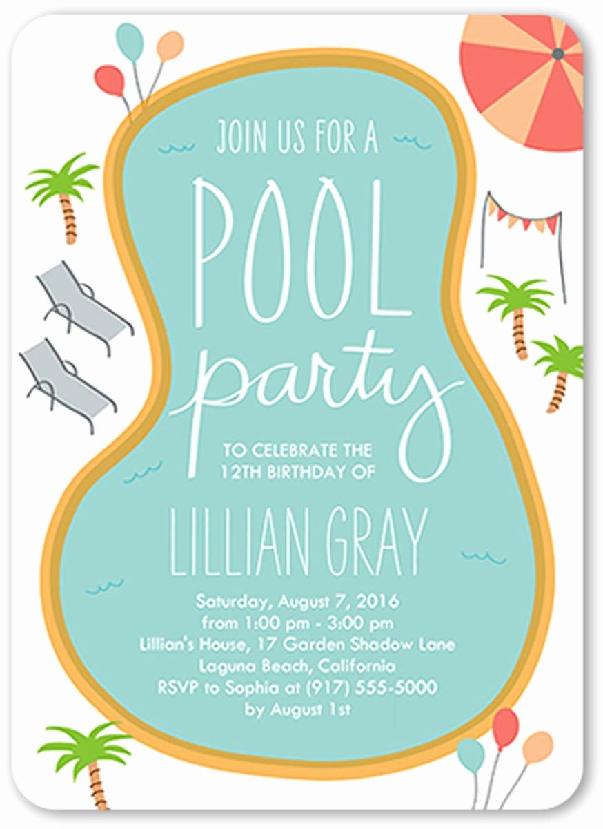 Pool Party Invite Template Elegant 18 Birthday Invitations for Kids – Free Sample Templates