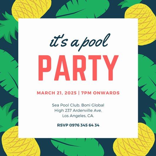 Pool Party Invite Template Elegant Pool Party Invitation Templates Canva