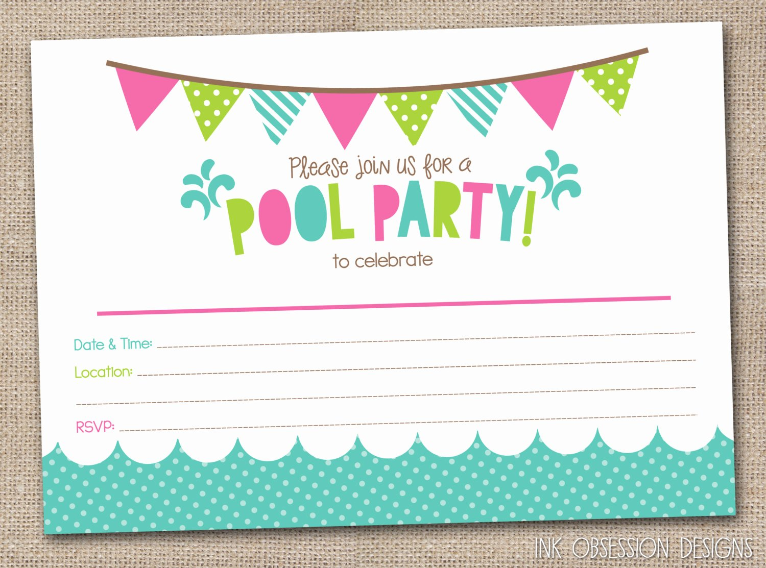 Pool Party Invite Template Inspirational 45 Pool Party Invitations