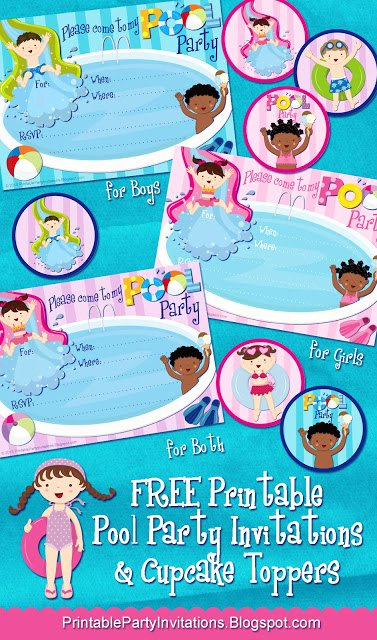 pool party invites and toppers