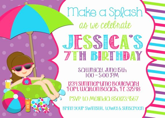 Pool Party Invite Template Lovely Swimming Pool 5x7 Invitation Girl Birthday Party Printable