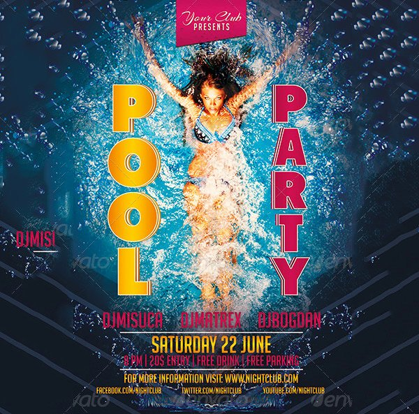Pool Party Invite Template Luxury 36 Pool Party Invitation Templates Psd Ai Word