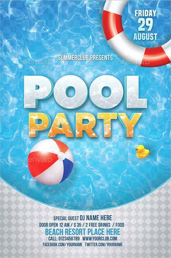 Pool Party Invite Template New 45 Printable Party Invitation Templates Psd Ai