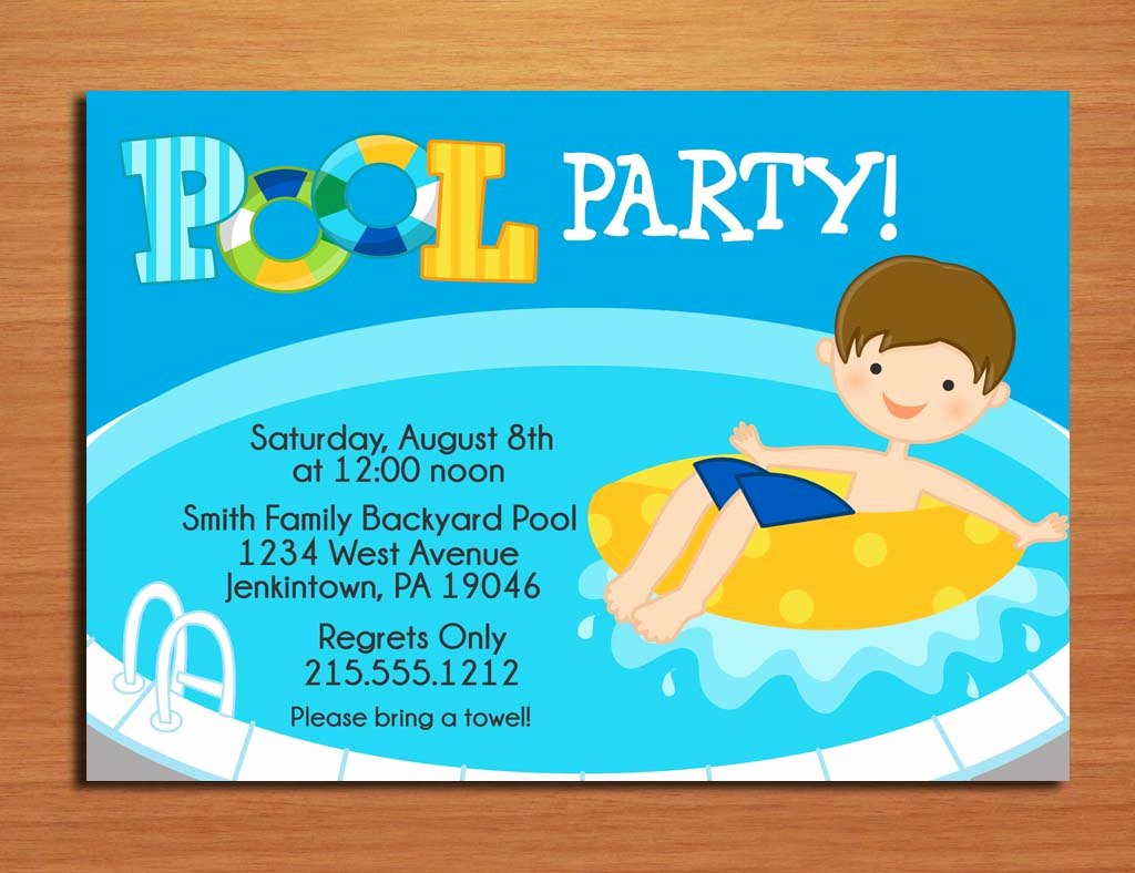 Pool Party Invite Template New Free Printable Birthday Pool Party Invitations