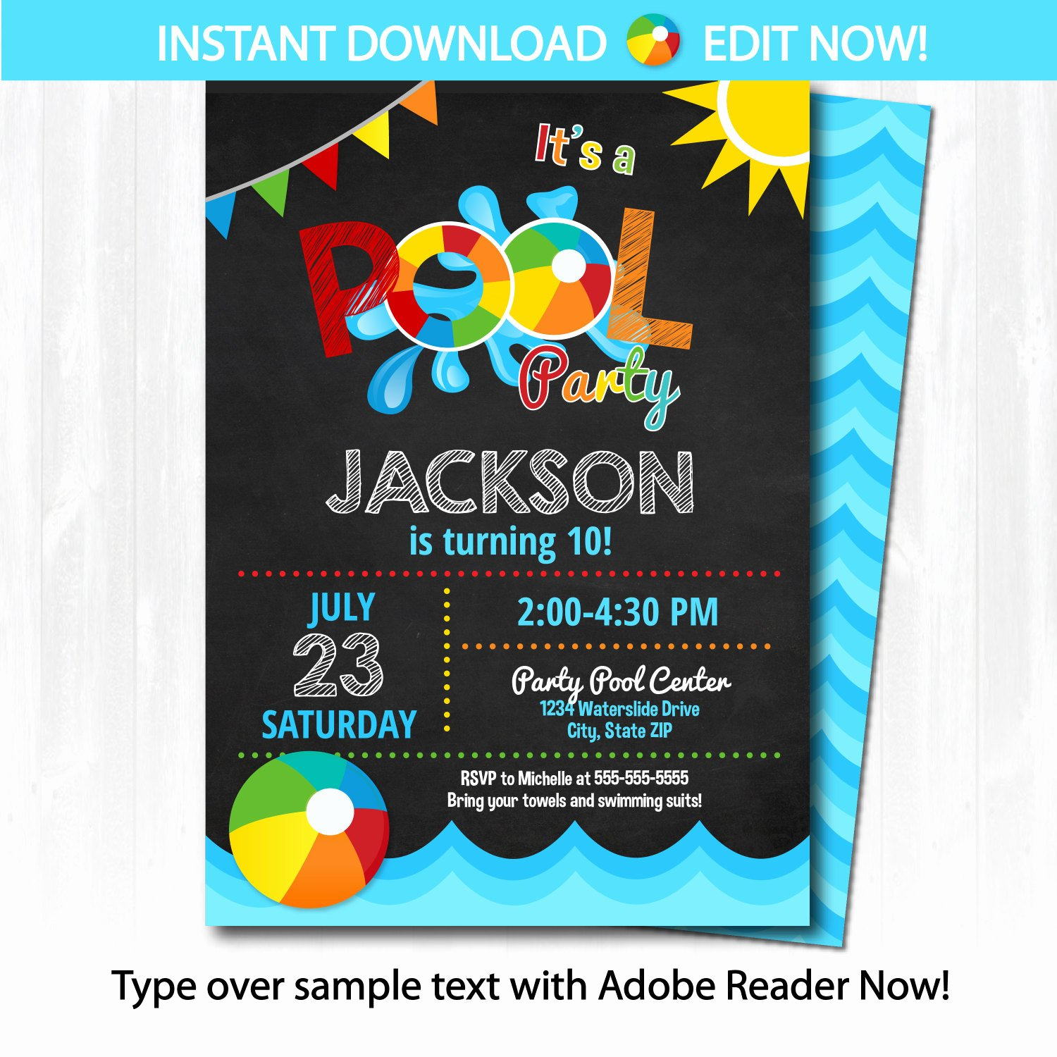 Pool Party Invite Template Unique Pool Party Invitation Swimming Pool Birthday Party by