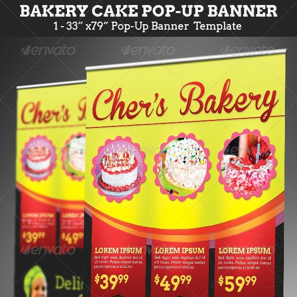 Pop Up Banner Template Elegant Cake Bakery Graphics Designs & Templates From Graphicriver