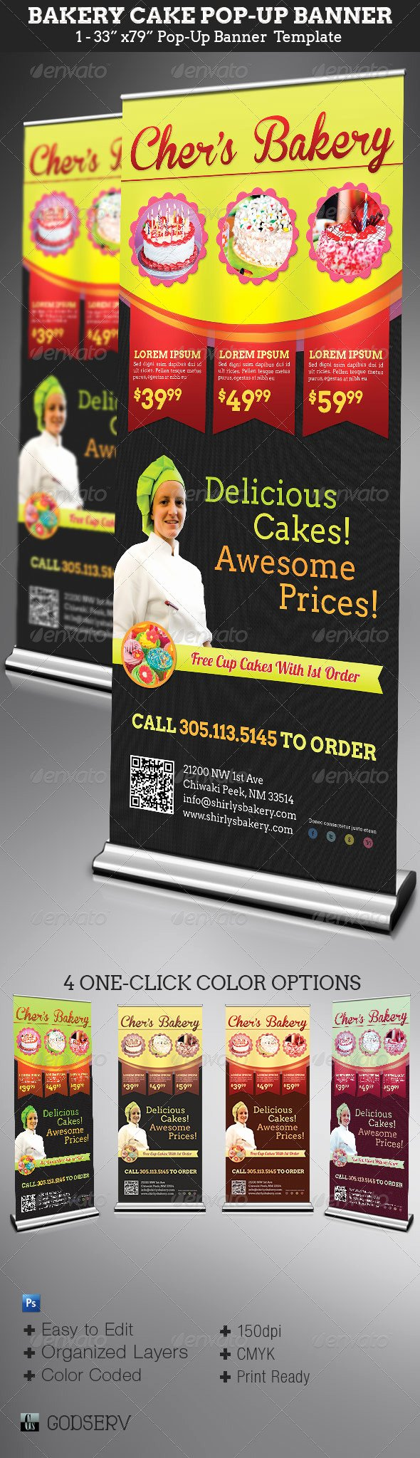 Pop Up Banner Template New Bakery Cake Pop Up Banner Template