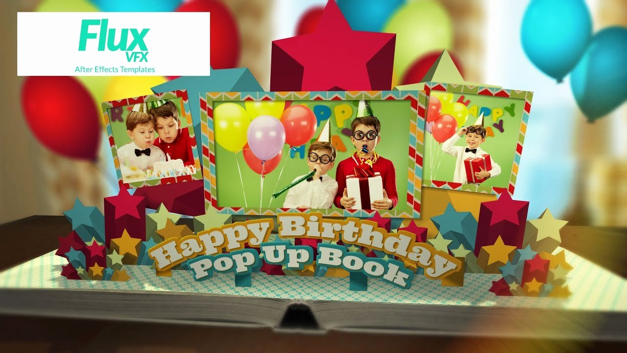 Pop Up Book Template Unique Happy Birthday Pop Up Book after Effects Template