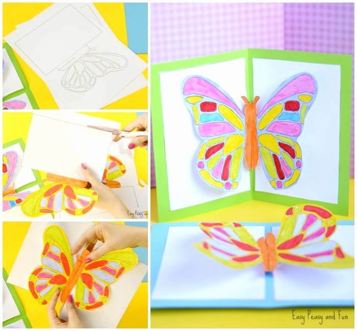 Pop Up Card Template Lovely Diy butterfly Pop Up Card with A Template Easy Peasy and Fun