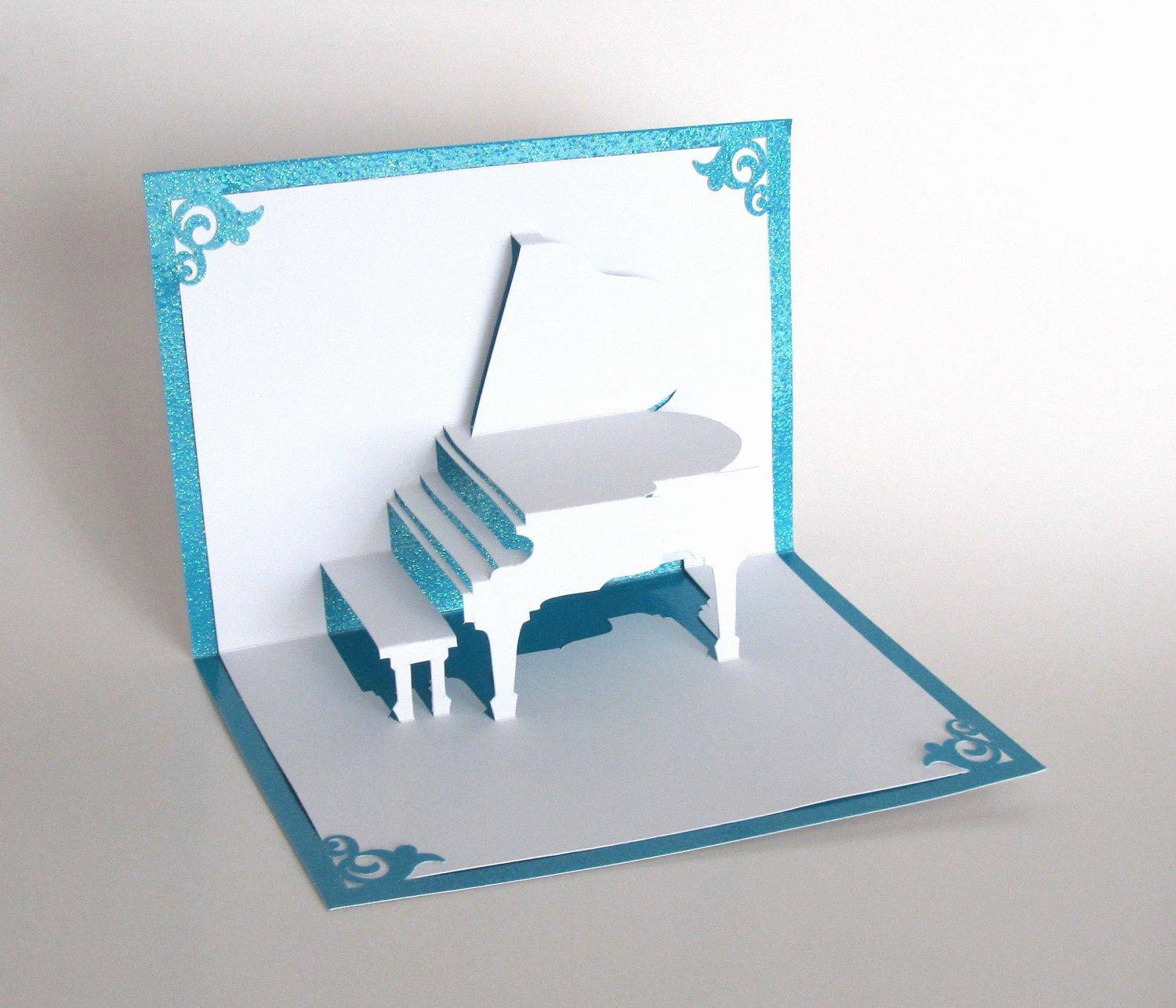 Popup Christmas Card Template Awesome Grand Piano 3d Pop Up Greeting Card Handmade Cut by Hand