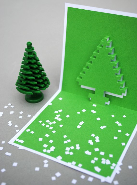 Popup Christmas Card Template Inspirational Christmas Pixel Popup Cards
