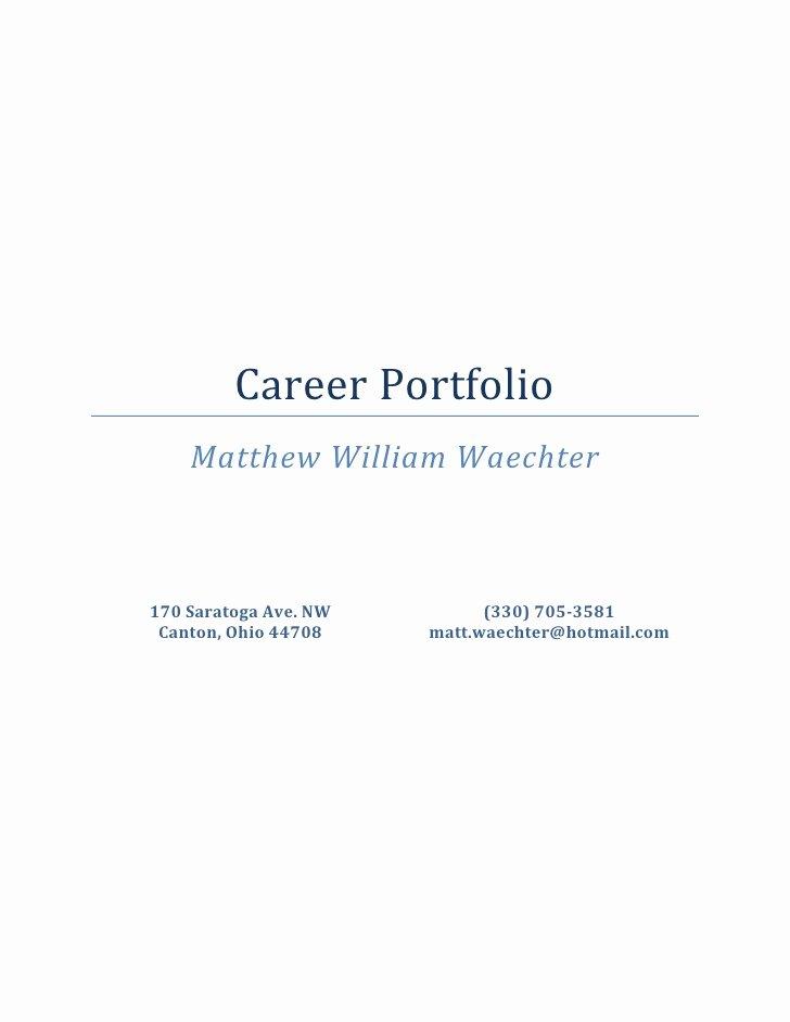 Portfolio Title Page Template Awesome Career Portfolio