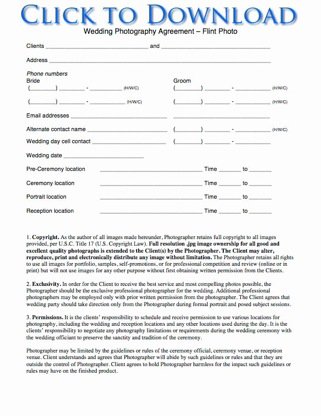 Portrait Photography Contract Template Awesome Free Wedding Graphy Contract forms