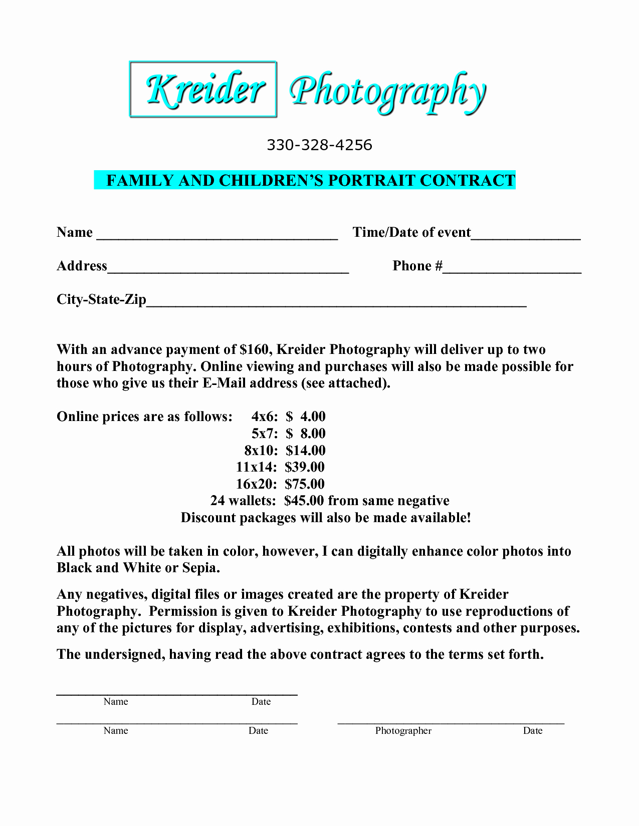 Portrait Photography Contract Template Awesome Portrait Graphy Contract Template Free Printable