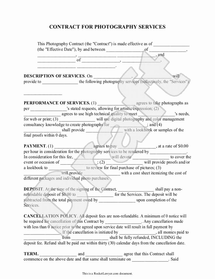 Portrait Photography Contract Template Elegant Best 25 Graphy Contract Ideas On Pinterest