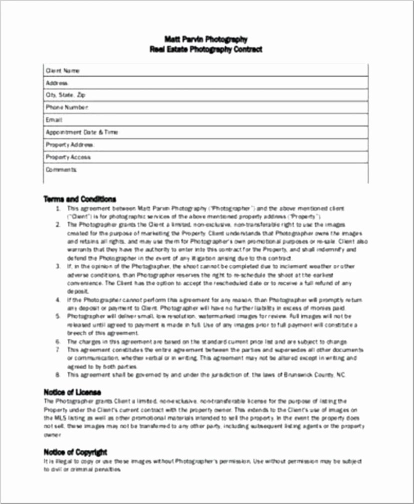 Portrait Photography Contract Template Fresh Headshot Graphy Contract Template