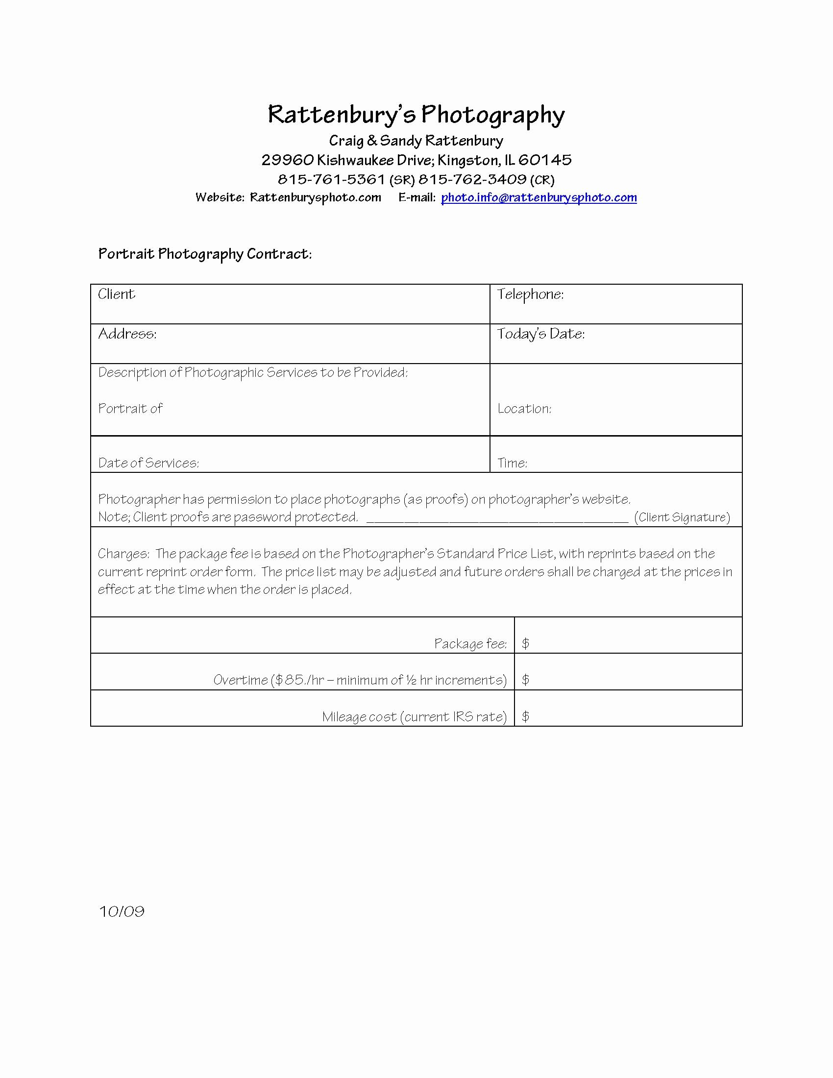 Portrait Photography Contract Template Fresh Portrait Graphy Contract Template Free Printable