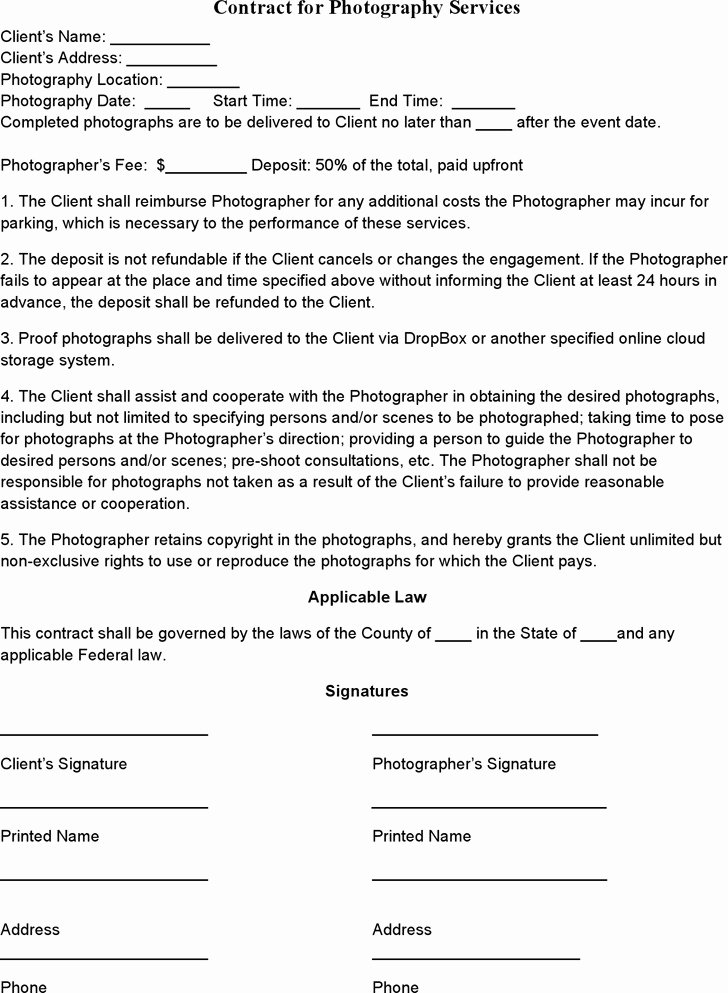 Portrait Photography Contract Template Inspirational event Graphy Contract Templates Templates Resume
