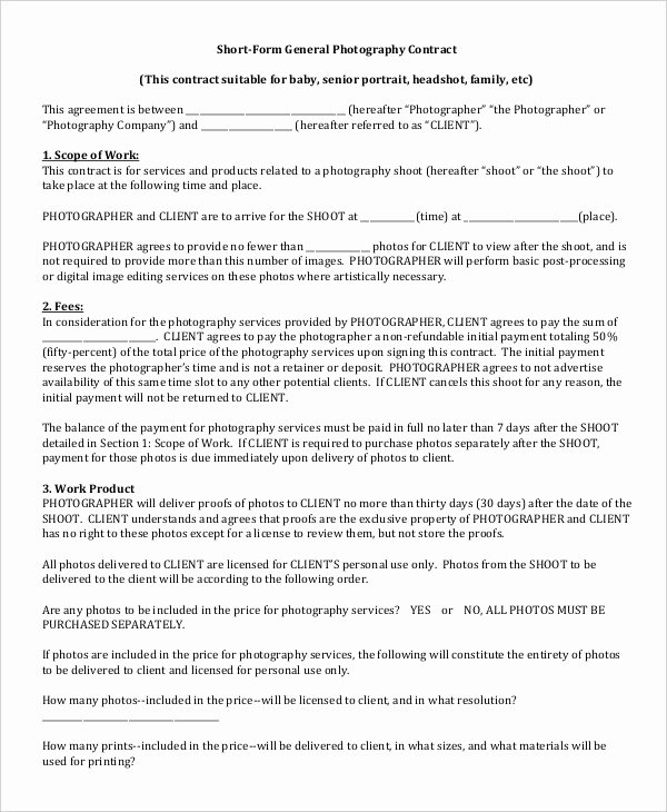 Portrait Photography Contract Template Luxury Graphy Contract Example 11 Free Word Pdf Documents