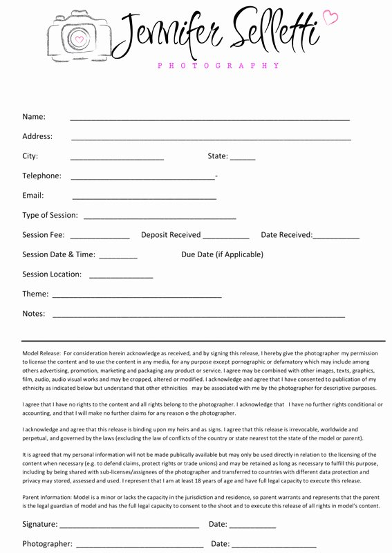 Portrait Photography Contract Template New Graphy Contract Child & Family Graphy