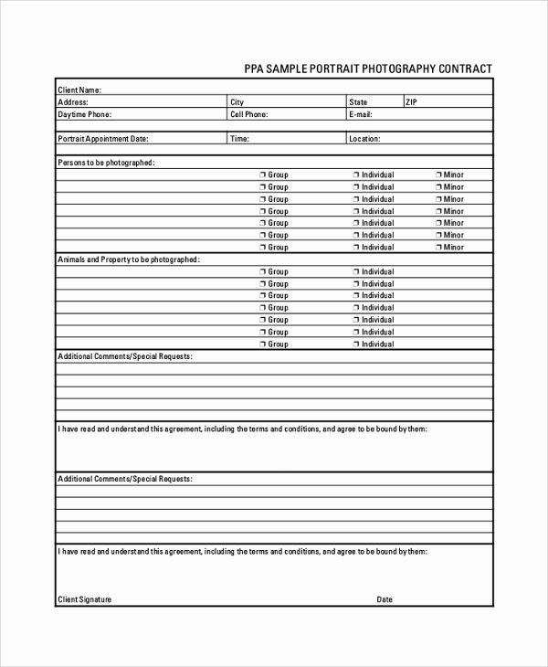 Portrait Photography Contract Template Unique Sample Graphy Contracts 8 Documents In Pdf Word