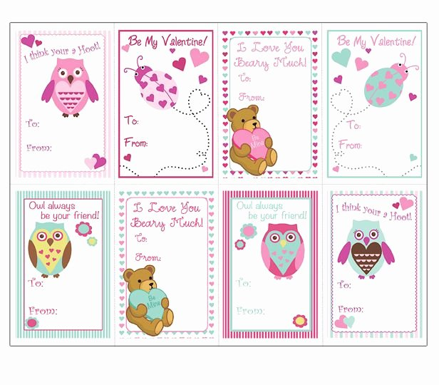 Postcard Template for Kids Lovely Animals Valentine Cards Templates for Kids Super Cute