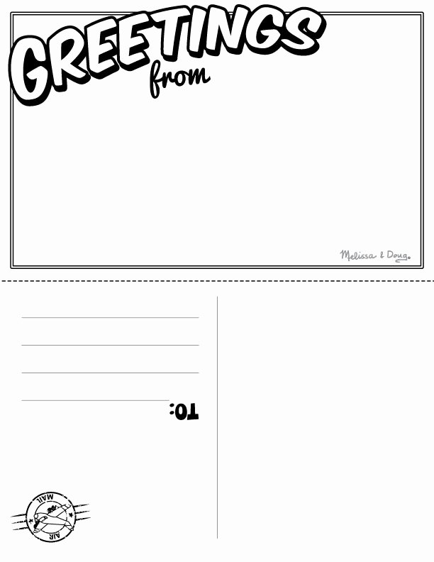 post postcard writing template for kids