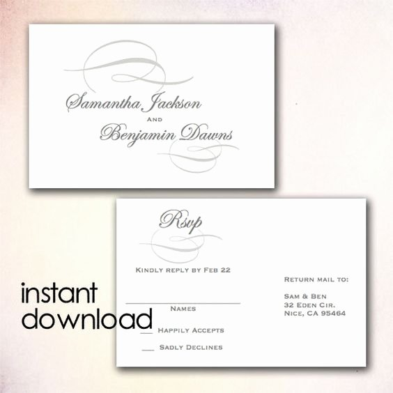 Postcard Template for Word Beautiful Diy Wedding Rsvp Postcard Template Instant Download