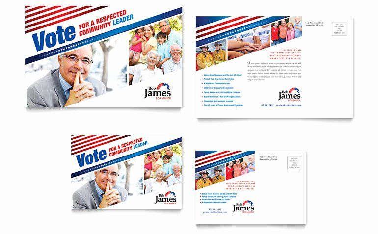 Postcard Template for Word Elegant Political Campaign Postcard Template Word & Publisher