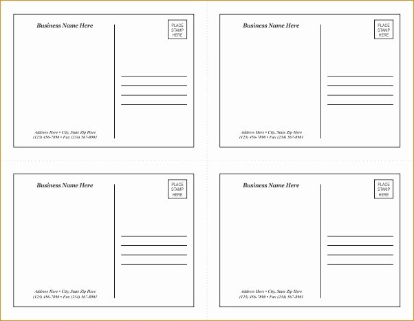 Postcard Template for Word Unique Postcard Template Word