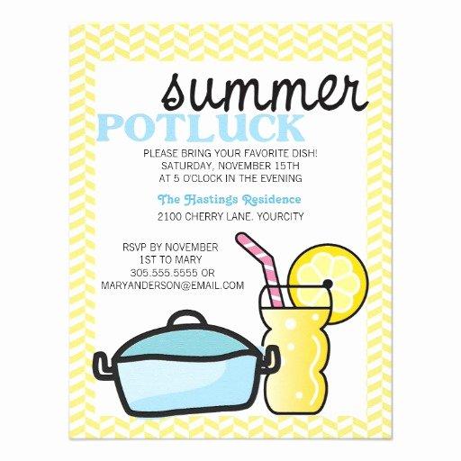 """Potluck Invitation Template Free Awesome Bright Summer Potluck 4 25"""" X 5 5"""" Invitation Card"""