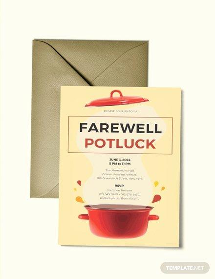 Potluck Invitation Template Free Awesome Free Happy Farewell Invitation Card Template Download 518