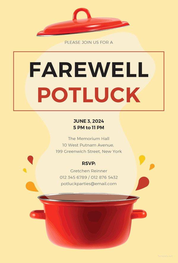 Potluck Invitation Template Free Beautiful 23 Farewell Invitation Template Free Sample Example