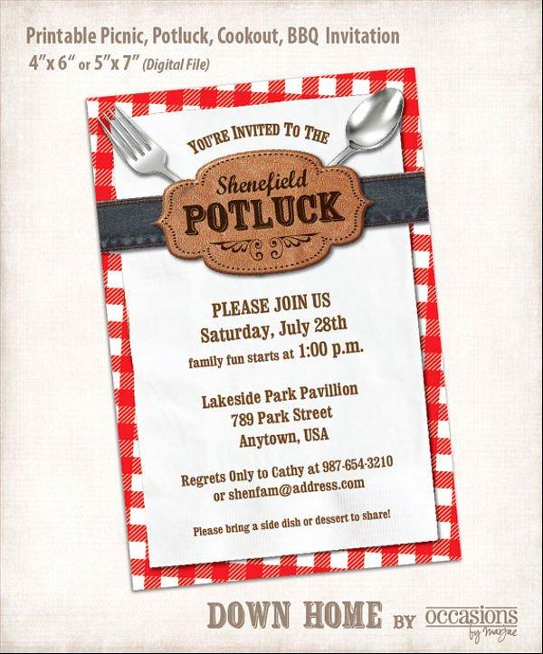 Potluck Invitation Template Free New 13 Potluck Email Invitation Templates Psd Ai